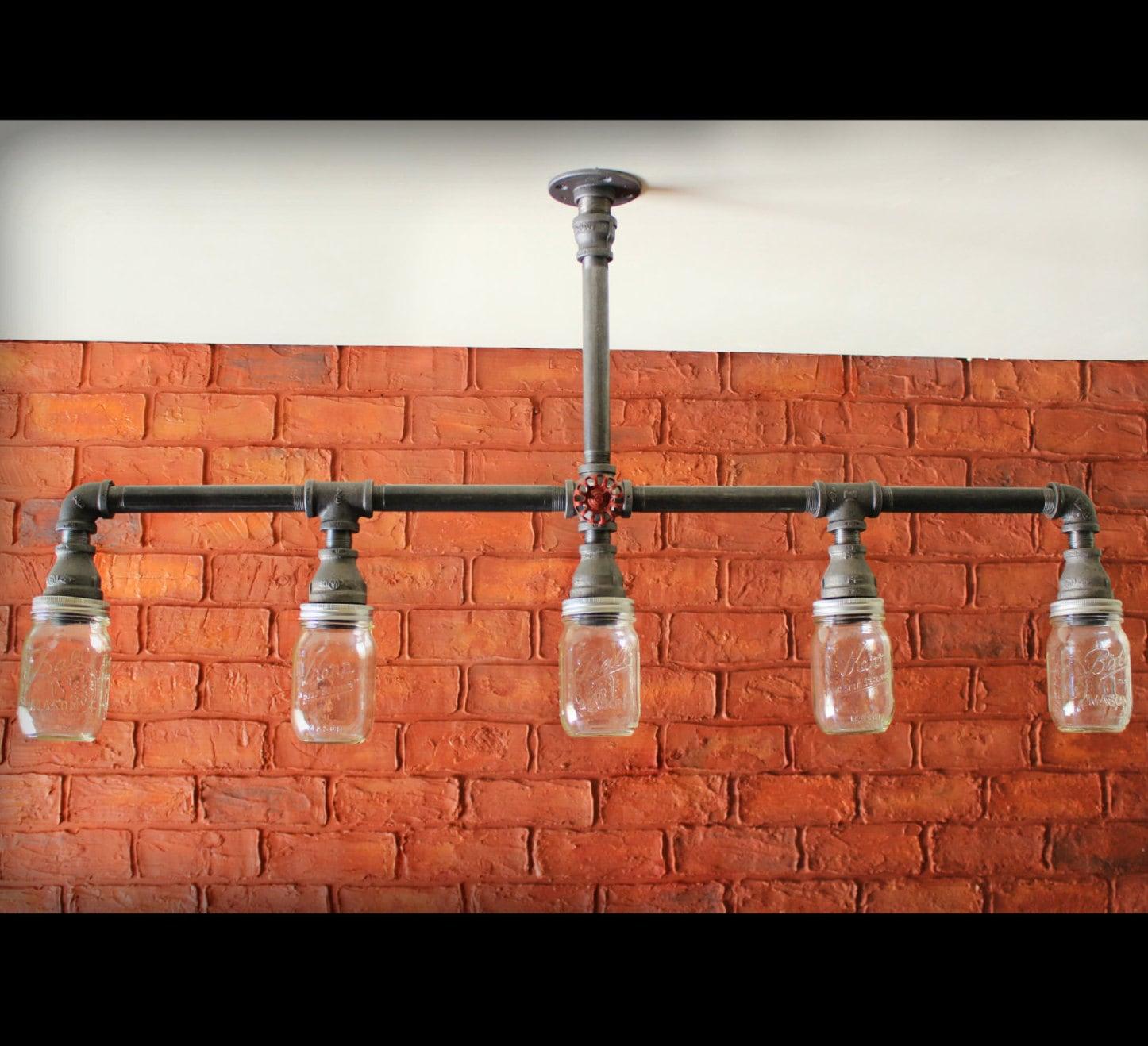 mason jar chandelier ceiling light farmhouse kitchen lighting fixtures Farmhouse Mason Jar Industrial Kitchen Island light zoom