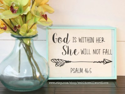 God is within her she will not fall Psalm 46:5 wooden faith