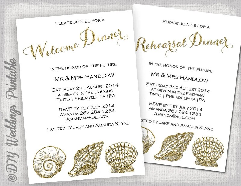 Rehearsal Dinner invitation template \/ welcome dinner invite - dinner invitation template