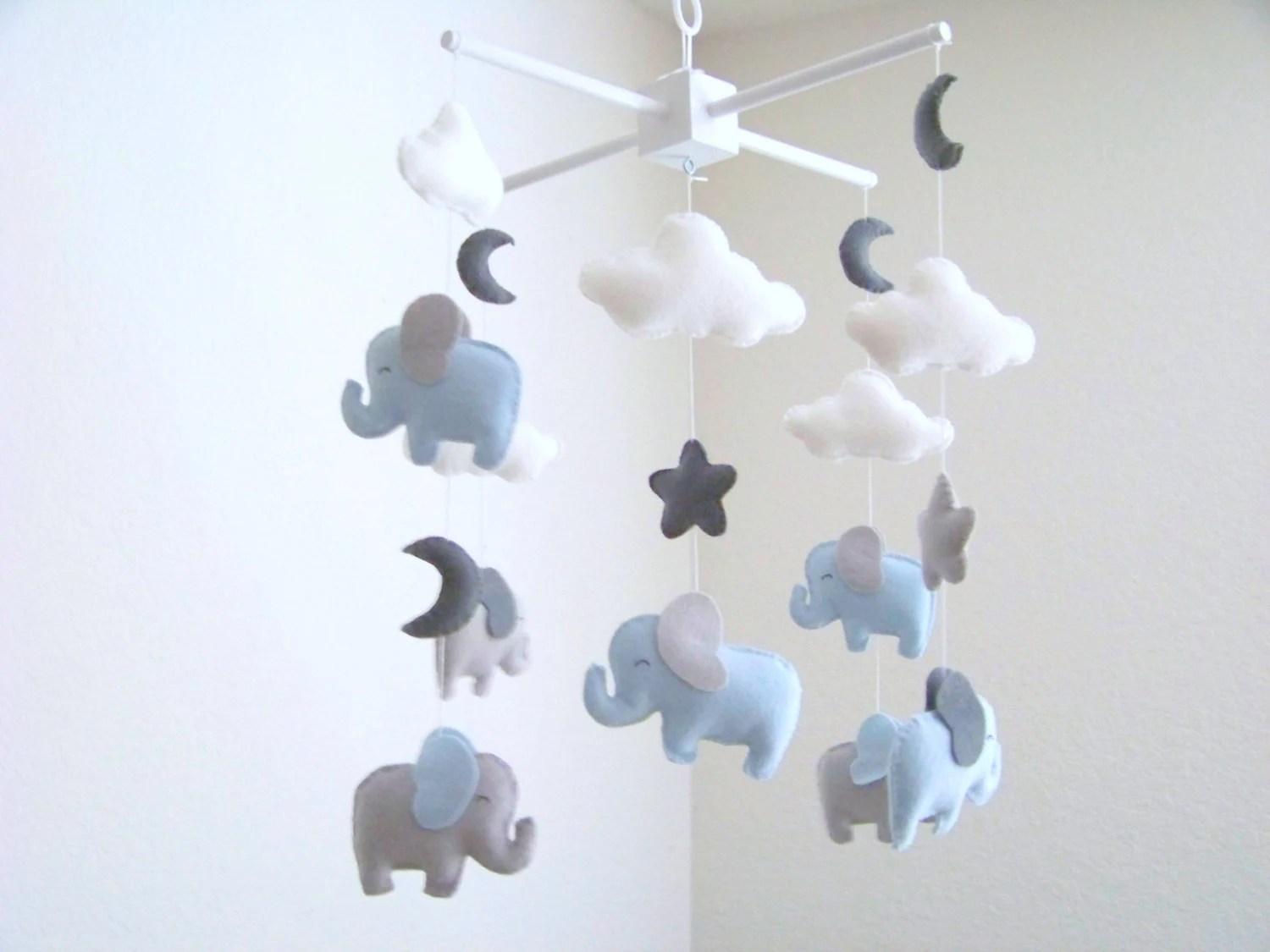 Kinderwagenkette Selber Basteln Elephant Baby Mobile Blue And Gray Baby Mobile Nursery Crib