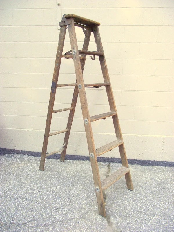 Antique Folding Wood Step Ladder Extension All By