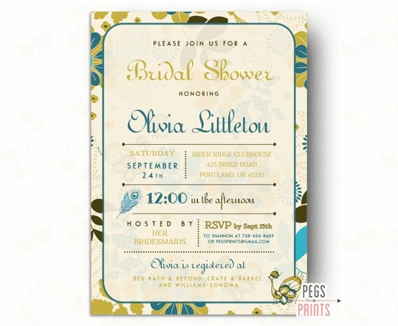 Printable Peacock Bridal Shower Invitations - Peacock Bridal Shower