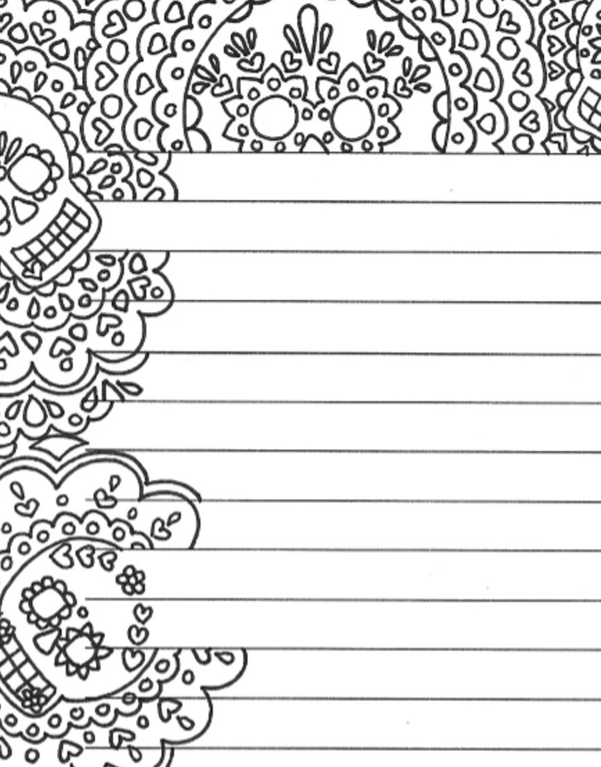 Day of the dead printable lined sugar skull stationery page - free printable lined stationary