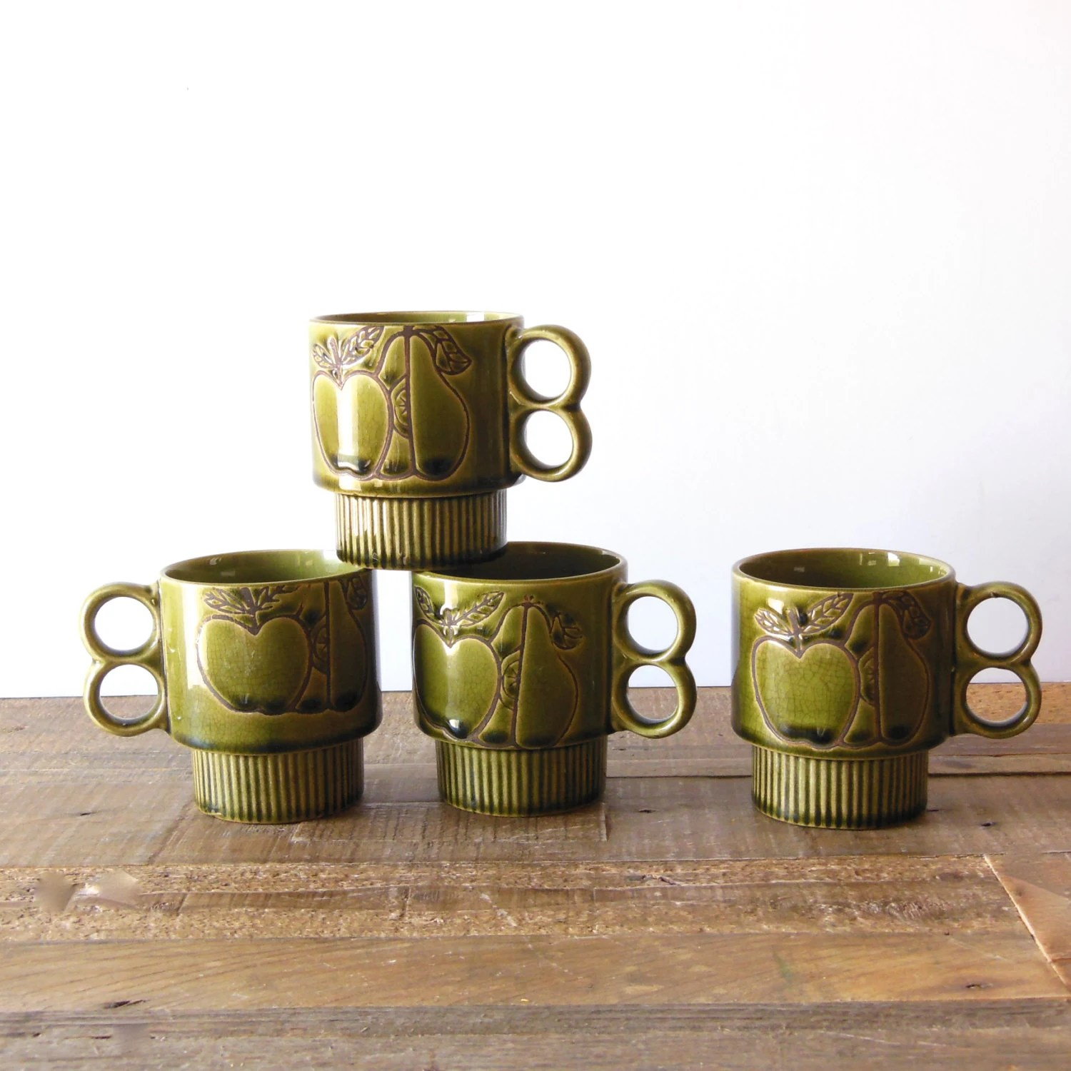 Double Handled Coffee Mugs 4 Vintage Stacking Coffee Mugs Avocado Green Double Handle