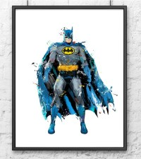 Batman Watercolor Print Superhero Art Movie by gingerkidsart