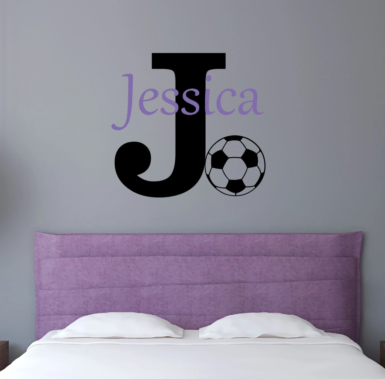 Personalized Name Soccer Wall Decal Sticker