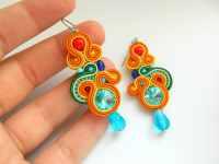 Rainbow earrings colored earrings statement by anatydesign ...
