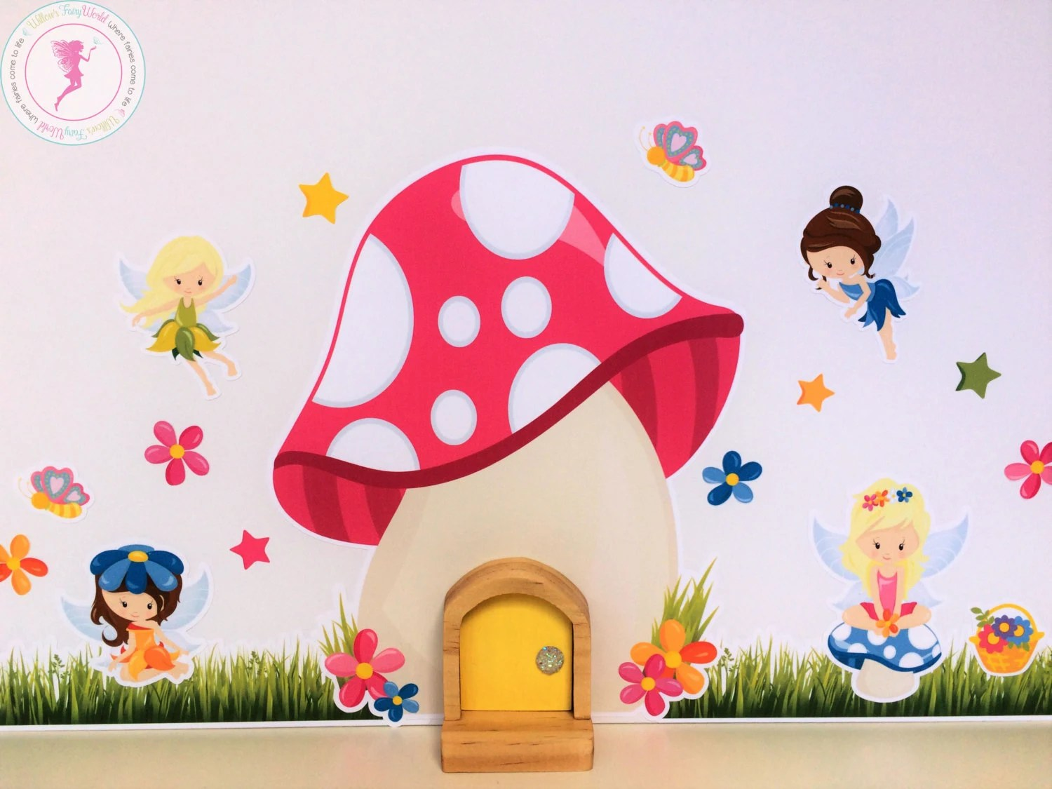Toadstool Fairy Door and Wall Stickers Fairy by