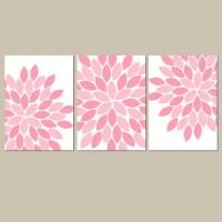 Pink Baby Girl Nursery Wall Art Pink Flowers Girl Bedroom