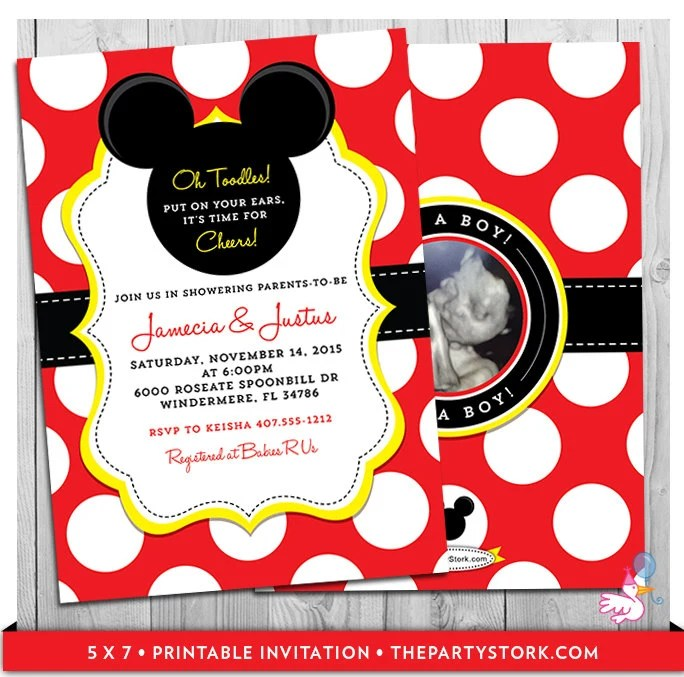 Mickey Mouse Baby Shower Invitations unique Mickey Mouse themed - unique mickey mouse invitations