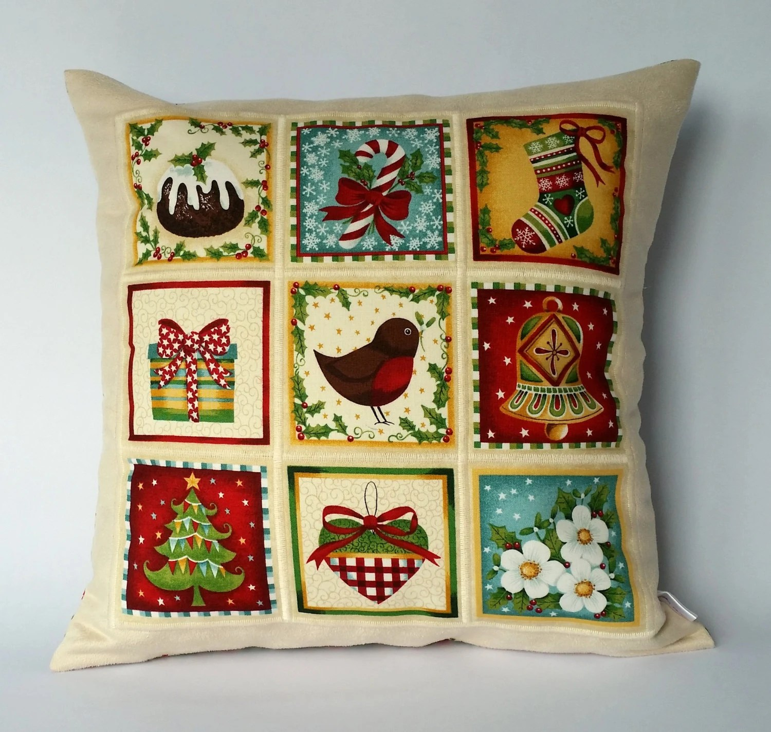 Cushion Covers Christmas Christmas Patchwork Panel Cushion Cover Christmas Pillow