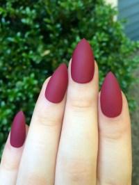 Matte nails maroon nails fake nails stiletto nails