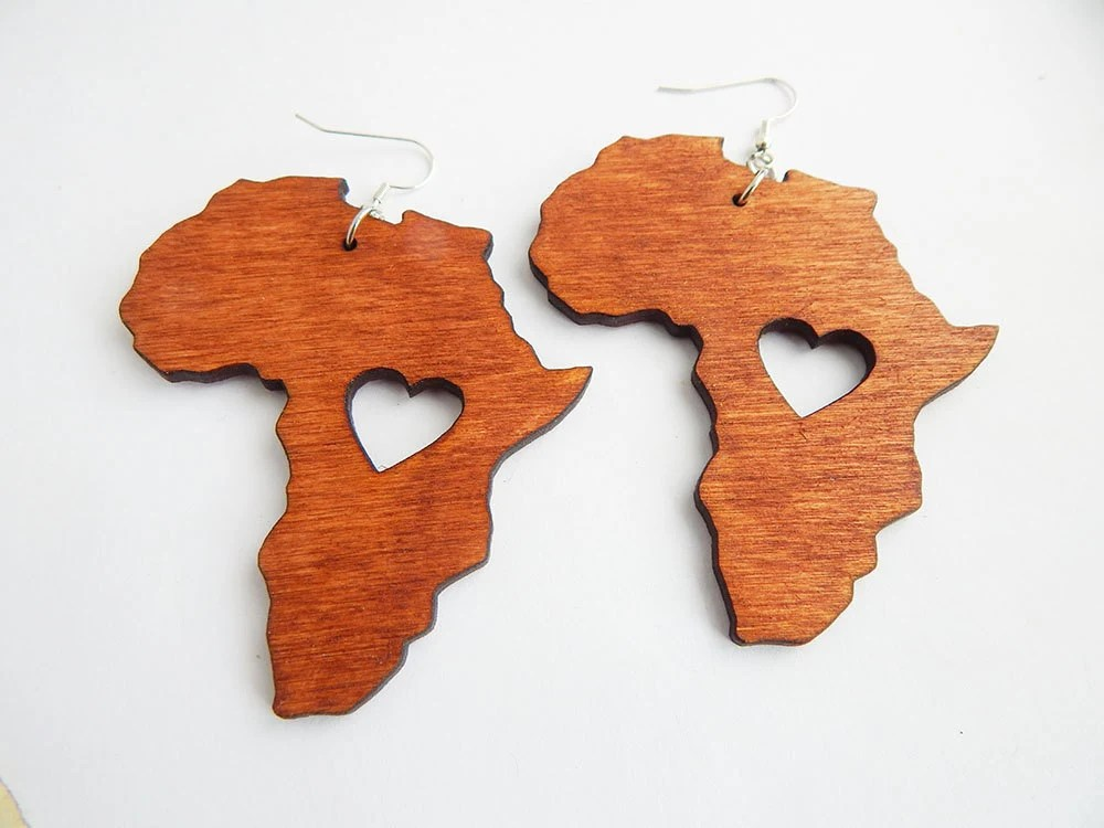 Africa Earrings Wooden Africa Shape Jewelry Africa Map