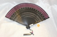 Beautiful Japanese Fan and Holder Purple and by TwoCatsVintage