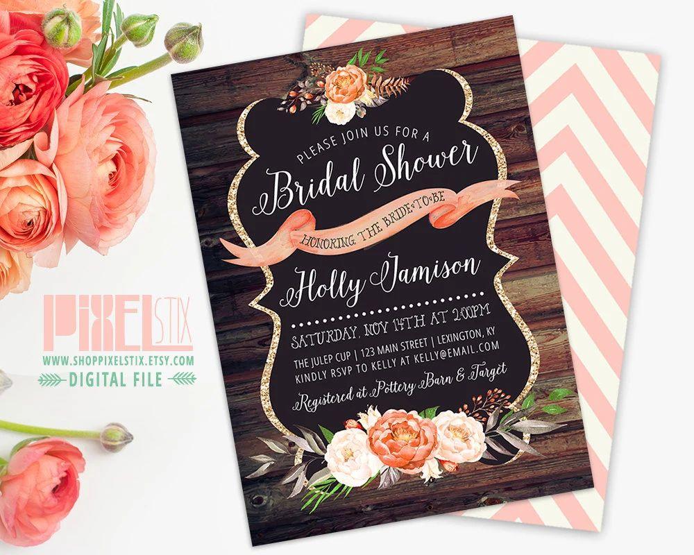 rustic bridal shower invite