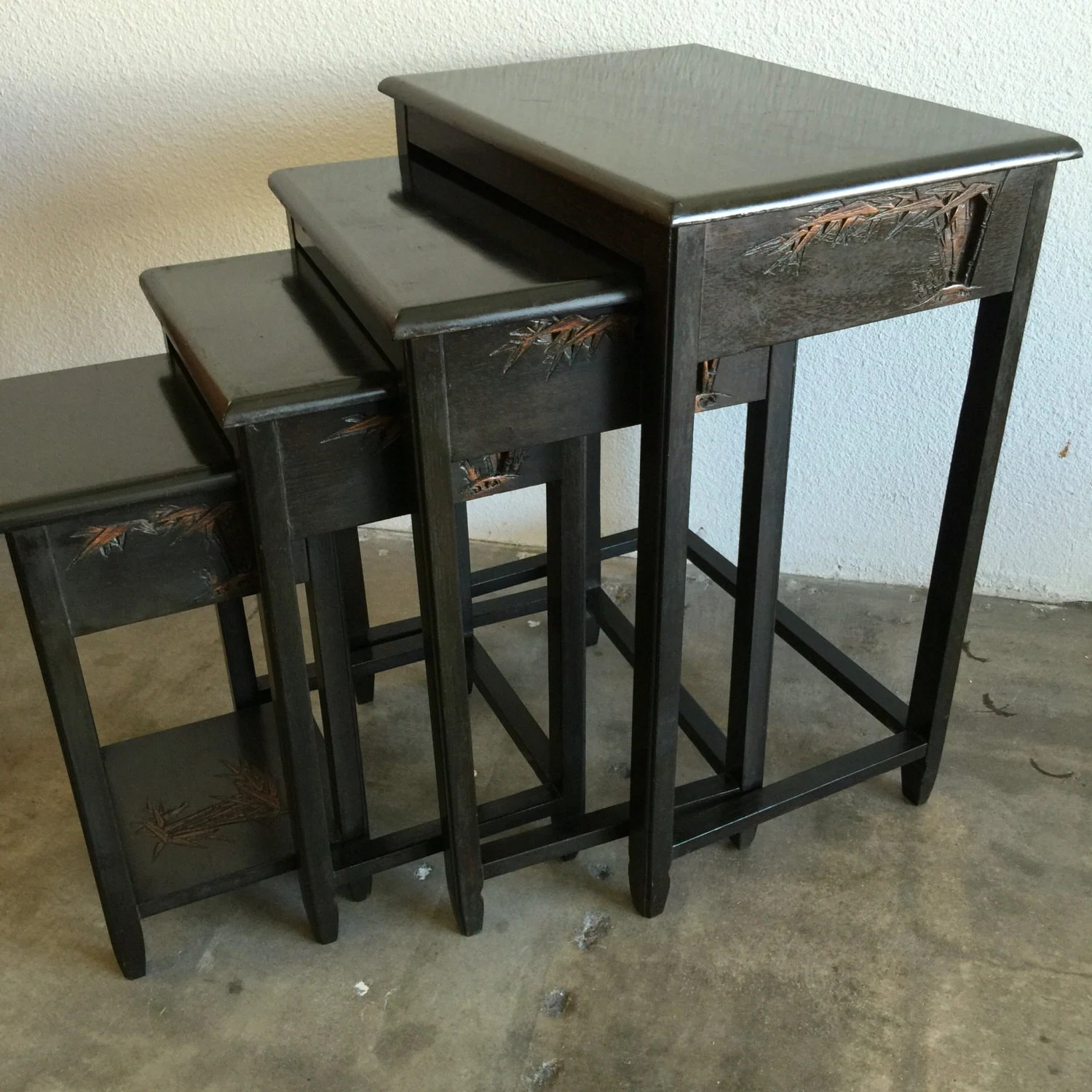 Asian Nesting Tables Wood End Tables Nested Tables Set Of 4 By Retroresalesandiego