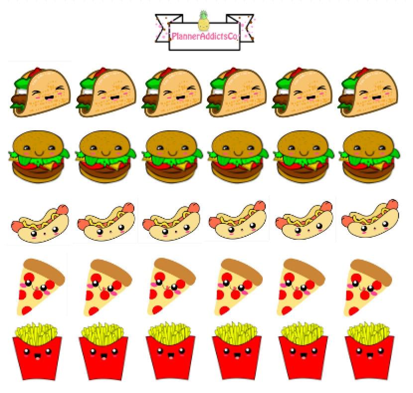 Cute Chicken Nugget Wallpaper Kawaii Fast Food Planner Stickers Taco Burger Hotdog