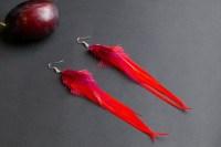 Red feather earrings: long feather earrings gypsy jewelry