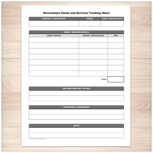 Printable Renovations Goods Services Tracking Sheet Home or - printable expense sheet