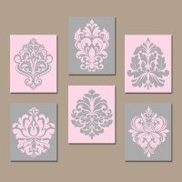 DAMASK Wall Art Canvas or Prints PINK GRAY Bedroom by ...