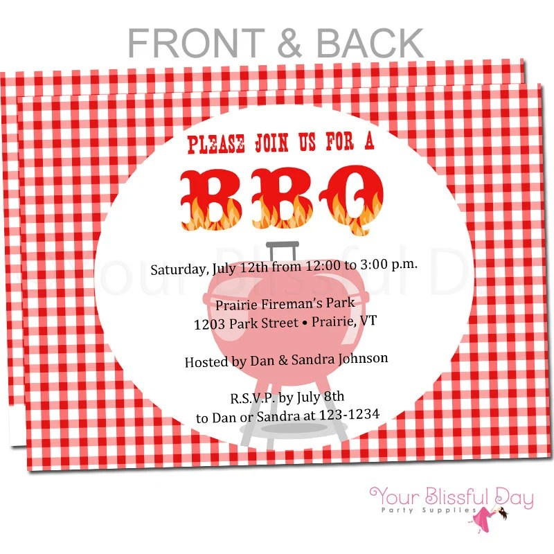 BBQ Party Invitation BBQ Party Invitations Barbecue Party