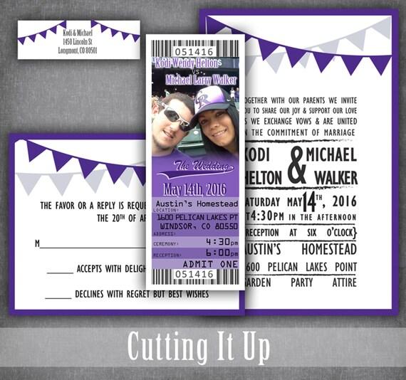 Baseball Wedding Ticket Invitations Sports Invitation - ticket invitation