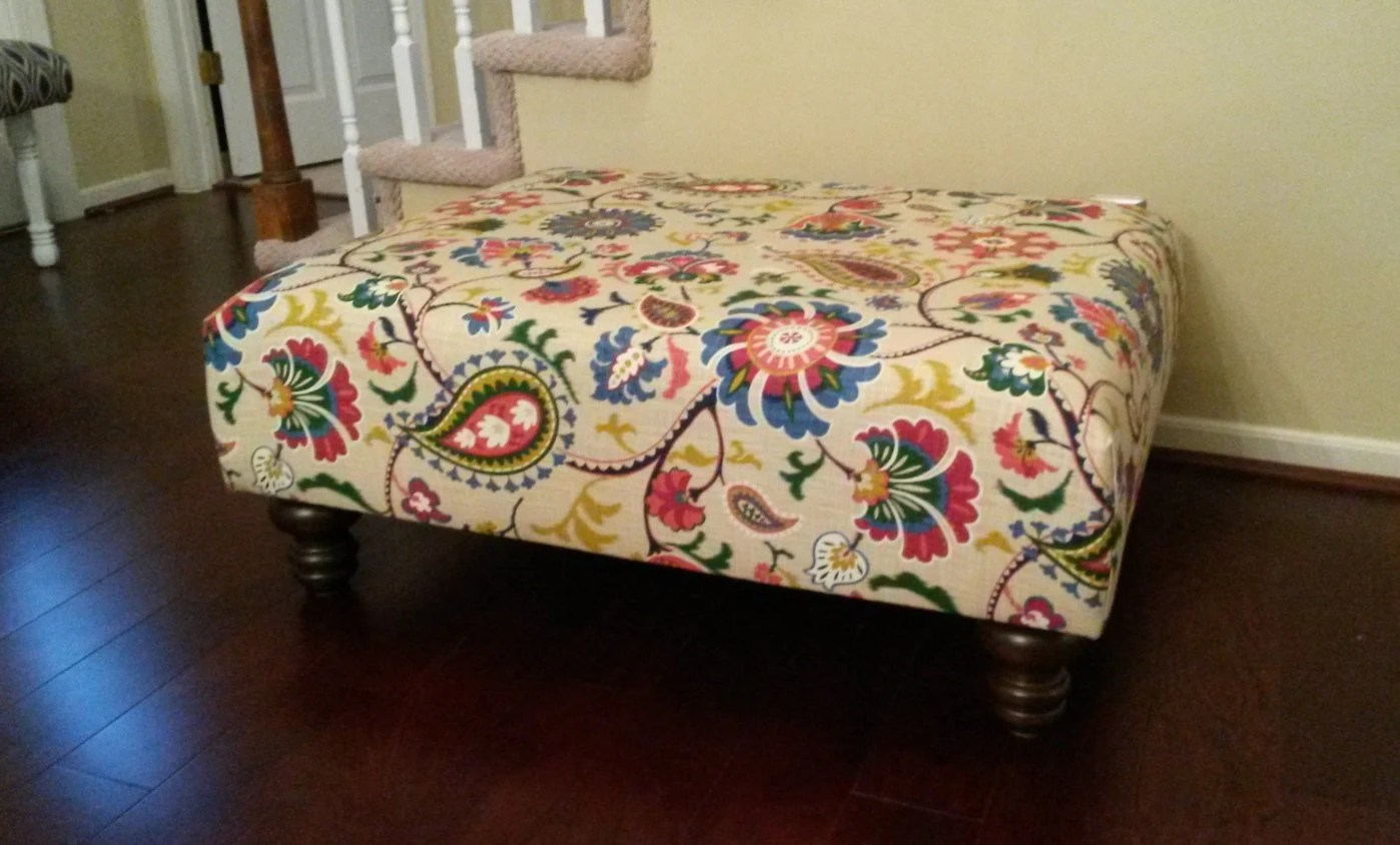 Fabric Coffee Table Upholstered Ottoman Coffee Table Floral Fabric