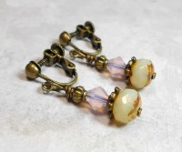 Screw Back Earrings Clip on Earrings Pink and by SharkysWaters