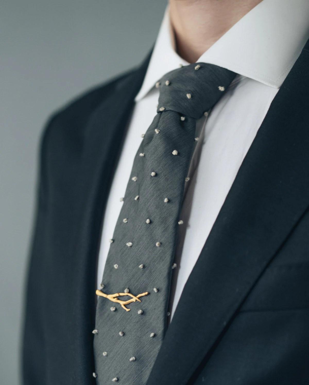 Branch Tie Bar 3D Printed Stainless Steel Men's Tie Clip