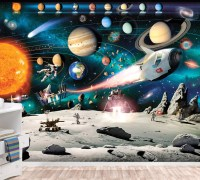 Solar System Mural Space Wallpaper Wall dcor Nursery and