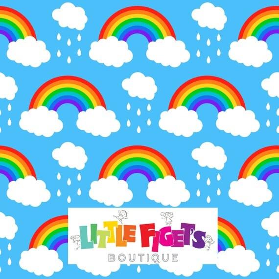 Create Name Animation Wallpaper Rainbow Blue Jersey Knit Fabric Uk Custom Print In Stock