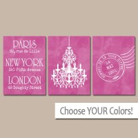 Paris London New York Wall Art Watercolor Chandelier Bedroom