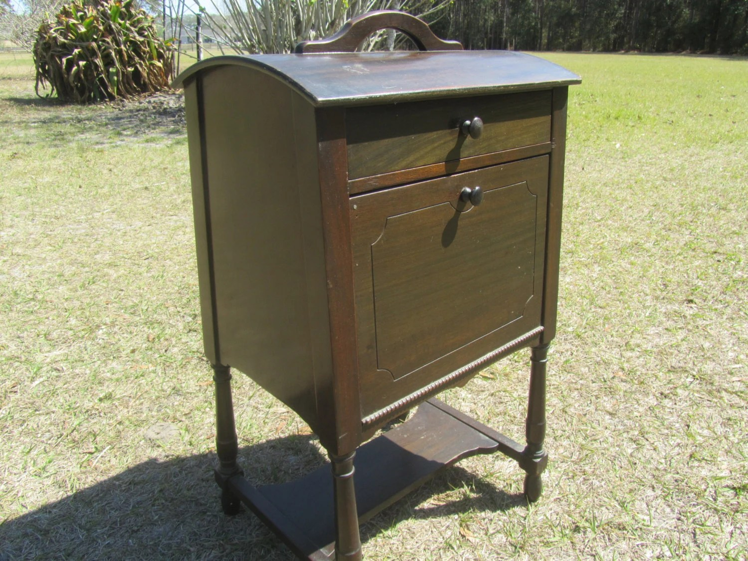 Vintage Sewing Cabinet Sewing Basket Solid Wood Cabinet