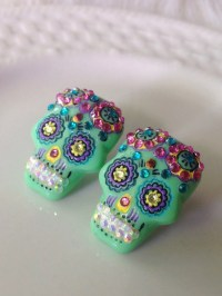 Sugar skull stud earrings Day of the Dead Skeleton Kawaii