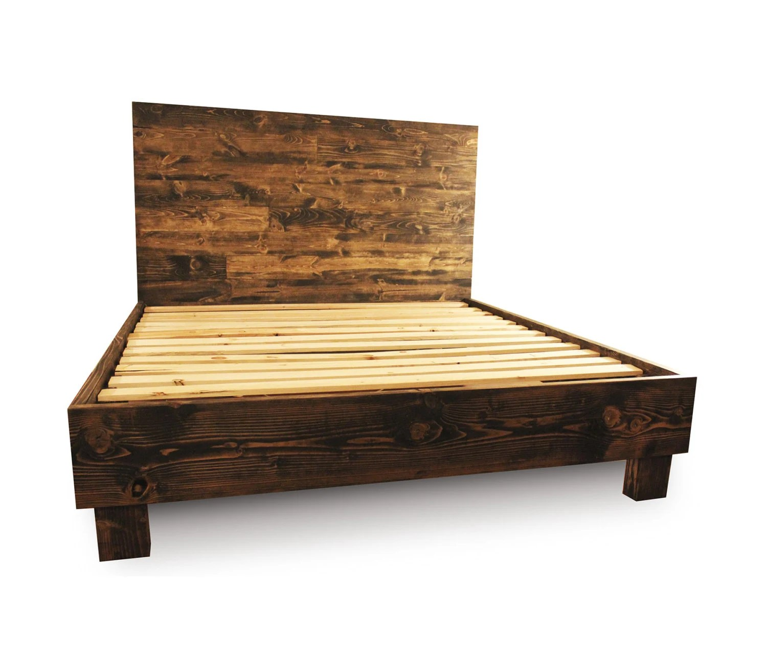 Rustikales Holzbett Rustic Solid Wood Platform Bed Frame And Headboard Reclaimed