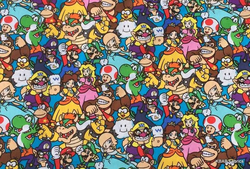 Cut Boy And Girl Wallpaper Super Mario Fabric Brothers Packed Characters Boy Girl 100