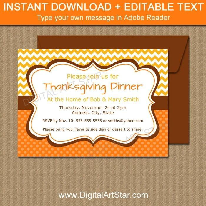 Thanksgiving Invitation - Printable Thanksgiving Dinner Invitation