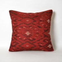Red Kilim Pillow Cover Old Kilim Pillow Hand Embroidery