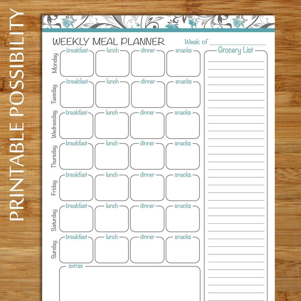 weekly meal planner grocery list