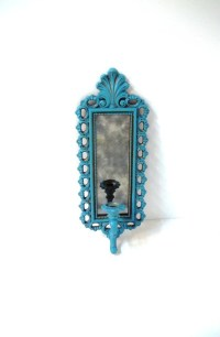 Vintage Turquoise Candle Sconce Wall Mirror Aqua Blue Candle