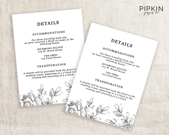 wedding invitation details card Wedding - invitation information template