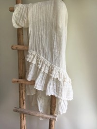 White Wrap Shawl With Ruffle Linen Scarf With Ruffle Wraps