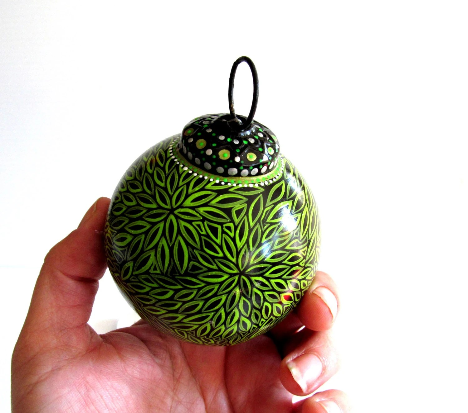 Green And Black Christmas Ornaments Hand Painted Glass