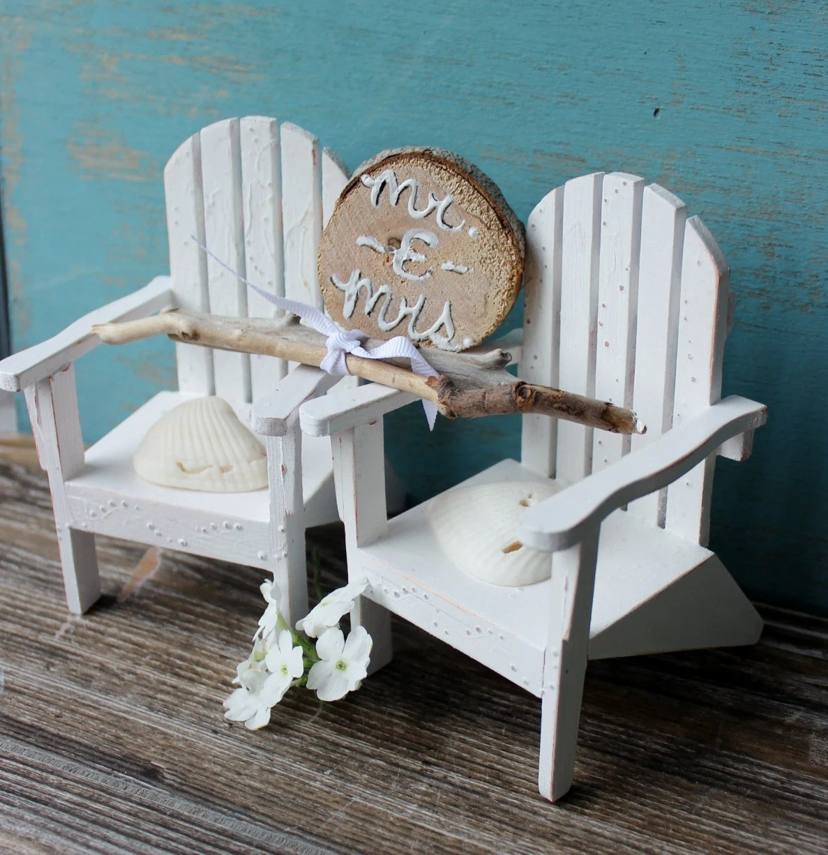 White Beach Chair Cake Topper With Driftwood Mr Mrs
