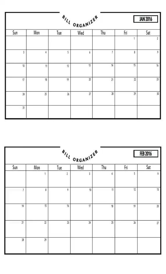 Items similar to Bill Payment Calendar 2016 - Printable PDF on Etsy - bill calendar