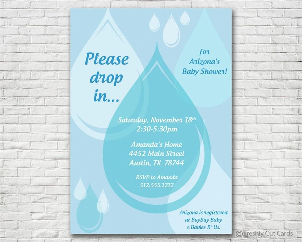 Raindrop Baby Shower Invitation - Printable or Printed (w/ FREE