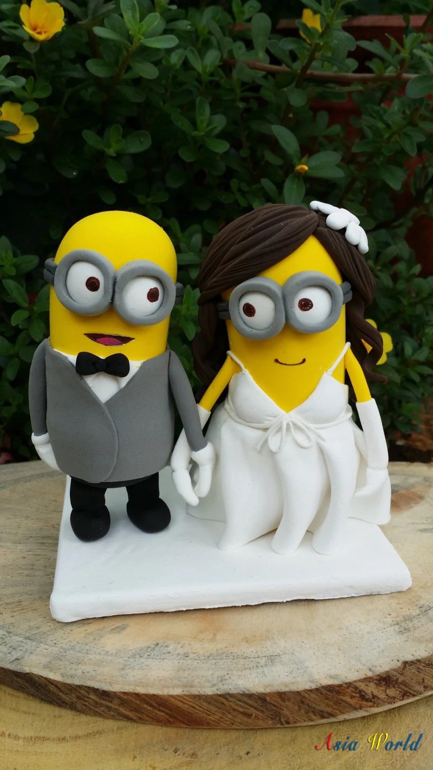 minions wedding cake topper clay doll wedding ring cake topper zoom