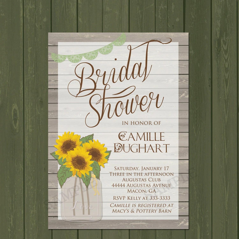 Sunflower Invitation, Rustic Sunflower Bridal Shower Invitation