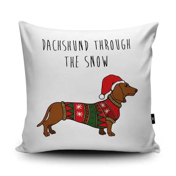 Dachshund Christmas Cushion Doxie Pillow Dachshund Pun