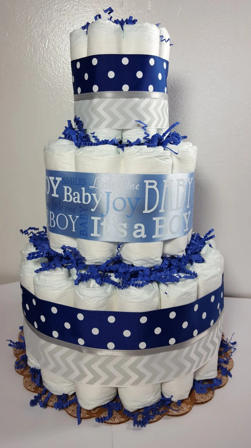 Baby Select Diapers 3 Tier Diaper Cake Blue Silver Chevron It 39;s A Boy Baby